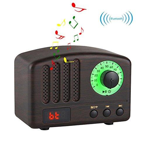 Retro Bluetooth Lautsprecher-HIFI Stereo Bluetooth 4.2 Desktop FM Radio mit Super Bass und Subwoofer Unterstützung TF-Karte / Micro SD-Karte und USB-Eingang für IPhone, IPad, Samsung, Tablet Etc (Multifunktions-maschine All In One)