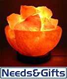 Himalayan Salt Fire Basket with Himalayan Salt Chunks IONES Therapeutic 100% Pure Himalayan Crystal Salt Lamp Fine Quality on Wooden Base