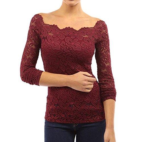 Juleya Femmes Dentelle Chemisier Élégant Madame Crewneck Chemise Dentelle Crochet Fleurs Tops Longue Manche T-shirt Pour Entreprise Dîner Fête Rouge