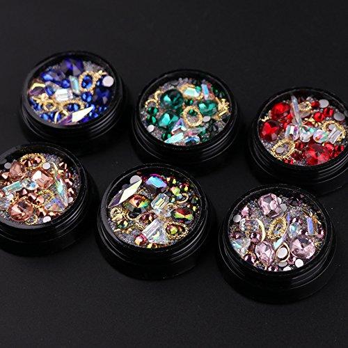 DANSPEED Nagelschmuck Maniküre DIY Transparent Hell Strasssteine Kristallglas Geformter Bohrer 3D Nail Art Sticker ohne Kleber (6 Boxen, Farbe A)