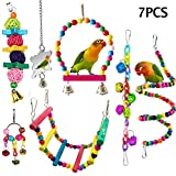 ESRISE 7 Pcs Bird Parrot Toys, Hanging Bell Pet Bird Cage Hammock Swing Climbing Ladders Toy Wooden Perch Mirror Chewing Toy for Conures, Love Birds, Small Parakeets Cockatiels, Macaws (Muliti-B)