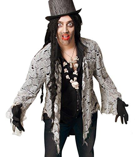 Edward Kostüm Bella - Zombie Frack Oberteil XL Halloween 1tlg. Pannesamt Unisex Kostüm Horror Geist Zauberer Hexe