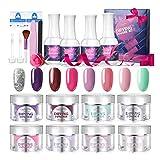 Luckyfine Dip Powder Kit - 8 Colori, Polvere Acrilico per Unghie Smalto in Polvere Per Nail Art Adatto a principianti ed esperti di unghie, Nessuna Lampada UV Richiesta