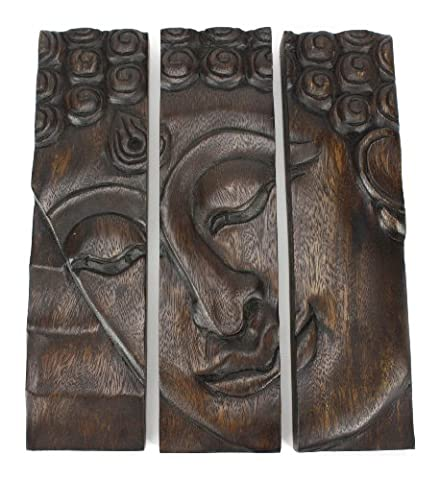 Buddha face panel, 3-part woodcarving Thailand - dark, 31cm high
