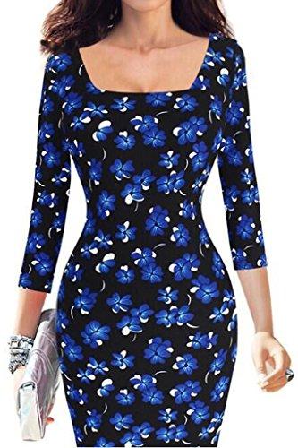 Minetom Femmes Automne Hiver Graffiti Impression Manches 3/4 Robes Bureau des Affaires Pencil Bodycon Party Cocktail Dress Bleu