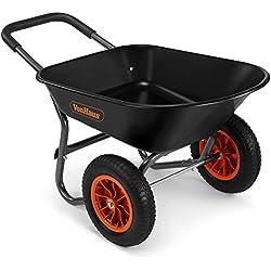 VonHaus Brouette 78 l à 2 roues - Accessoire de jardinage robuste, Transport de tous types de matériaux - Capacité de 100 kg
