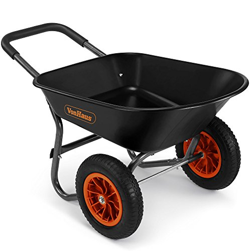 VonHaus 78L Wheelbarrow - Two Wheeled Pneumatic Tyre Heavy Duty Garden Tool/Waste Transportation Cart
