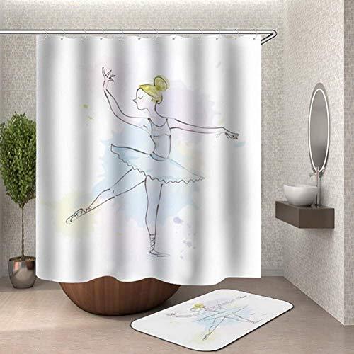 Elise Design Sukkulenten Topfpflanzen Duschvorhang Kaktus Rideau Douche Kakteen Badezimmer Vorhang 3D wasserdicht Polyester Stoff, Hy497, 150X180CM -