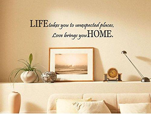 homemay PVC Wandtattoo Aufkleber Englisches Sprichwort Life Takes You, homewallpaper61cm X 15,5cm, weiß, 61cm x 15.5cm