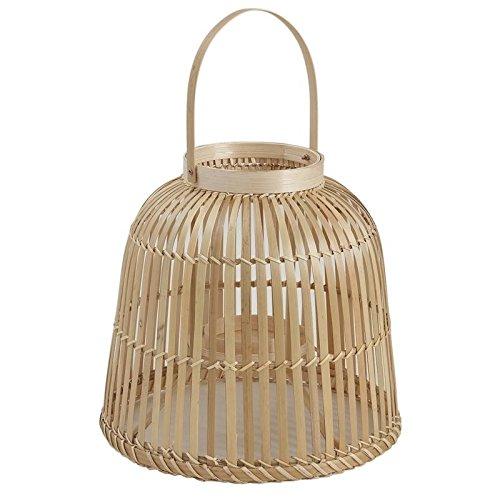 Lanterne à suspendre en bambou et verre