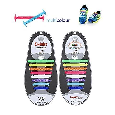 3 Paar Lazy No Tie Silikon Schnürsenkel für Erwachsene, WOODHEART Gummi Tieless Elastische Slip Sneaker Schnürsenkel Laufschuh Athletic Schuh Schnürsenkel (1 Paar Schwarz + 1 Paar Weiß + 1 Paar bunt)