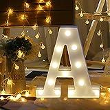 sunnymi 26 Buchstaben Warmes Weiß LED Licht Zeichen Kunststoff Marquee Lampe, Beleuchtung bis Worte, für Geburtstag Hochzeit Party Bar Schlafzimmer Wandbehang Dekoration (A, 22cm)