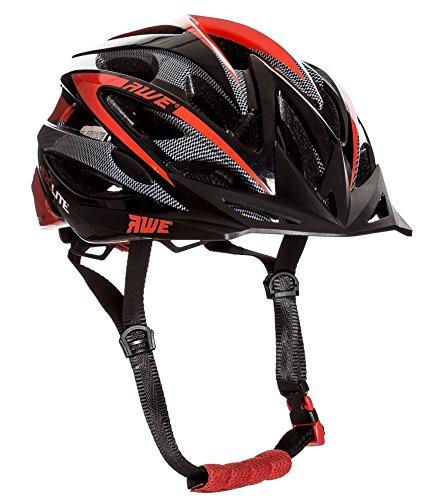 AWE® AeroliteTM In-Mould Fahrrad-Sturzhelm Schwarz Rot 58-61cm