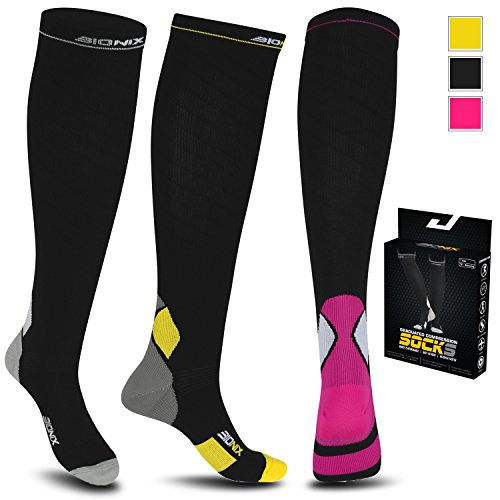 Bionix Compression Socks For Men and Women - 20-30mmhg Best Graduated Athletic Fit for Marathon Running, Blood Circulation, Shin Splints, Varicose veins, Maternity Pregnancy, Flight Travel, Nurses Work, Sports Socks. Boost Performance, Anti Fatigue, Recover Faster