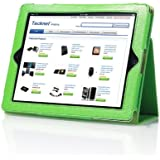 TeckNet® New iPad 4, iPad 3 & iPad 2 Premium Folio Leather Case / Cover and Flip Stand With Built-in Magnet for Sleep/Wake Feature + Screen Protector & 2-in-1 Capacitive Stylus & Ink Pen - Green
