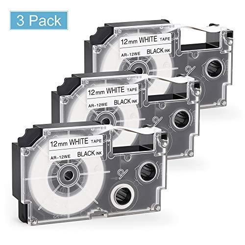 Nastro Etichette Invoker Compatibile In sostituzione di Casio XR-12WE XR-12WE1 Adesive Cartucce 12mmx8m, con Casio KL-60 120 820 70e 100 200 300 C500 780 P1000 1500 2000,Nero su Bianco,confezione da 3