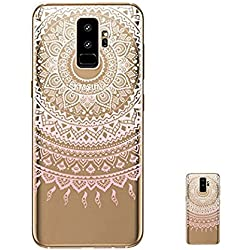 HopMore Funda Samsung Galaxy S9 Plus Silicona Transparentes Motivo Design TPU Gel One Piece Kawaii Original Ultrafina Slim Case Antigolpes Caso Protección Flexible Cover para Samsung S9 Plus - Mandala Rosa
