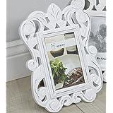 Marcos de fotos blanco envejecido rústico barroco de pie