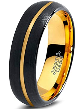 Tungsten Wedding Band Ring 6mm for Men Women Black & 18K Yellow Gold Center Line Dome Brushed Polished Lifetime...
