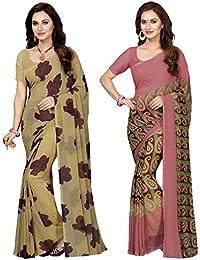 Ishin Combo Of 2 Faux Georgette Beige & Beige Printed Women's Sari/Sarees