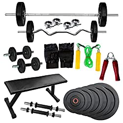 GYM FIT BRAND NEW FLAT BENCH WITH 40 KG HOME GYM SET+5ft PLAIN ROD+3ft CURL ROD+GYM ACCESSORIES