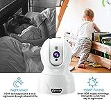 Dome Kamera - Atuten WiFi IP Kamera 1536P Wireless Überwachungskamera,Smart Home Kamera mit Nachtsicht,Auto-Rotation,2 Wege Audio,Bewegungsalarm,64G TF Card,Baby Monitor,Kompatible mit Alexa Echo Show - 2