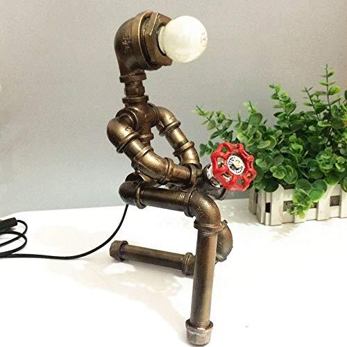 Moddeny Edison E27 Weinlese Steampunk Einen Roboter Tischlampe Retro Metall, Eisen, Wasser-Rohr-Schreibtischlampe Coffee Bar Shop-Loft Nacht Study Dekorative Schreibtisch Laterne Nachtbe -