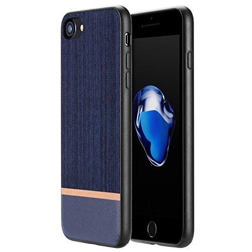 RANVOO [CANVAS] iPhone 7 Hülle, Premium Case aus Polyester Segeltuch & Echtes Leder für iPhone 7, Blau (Leder Polyester Liege)