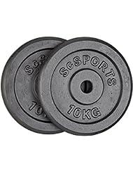 ScSPORTS 20 kg Hantelscheiben-Set Gusseisen 2 x 10 kg Gewichte 30/31 mm Bohrung