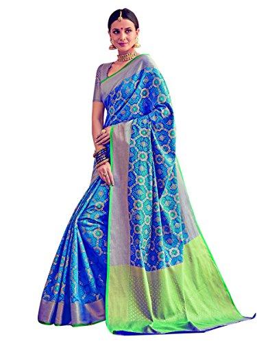 Stylee Lifestyle Blue Patola Silk Jacquard Saree