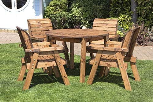 Home Gift Garden Round Wooden Garden Table and 4 Chairs Dining Set - Solid Wood Outdoor Patio Decking Furniture
