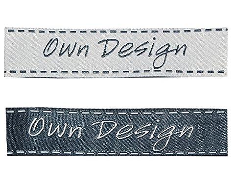 2 tlg. Set: Etiketten - OWN Design ( eigenes Design ) - 6 cm * 1,5 cm - Aufnäher gewebter Flicken zum Aufnähen / Applikation - für Kinder & Erwachsene - Handmade - z.B. für selbstgenähte Sachen