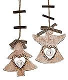 2x Deko Anhänger Tannenbaum Engel Herz mit Glöckchen, Holz 25cm, Weihnachtsdeko Fensterdeko Baumschmuck Winter Weihnachten