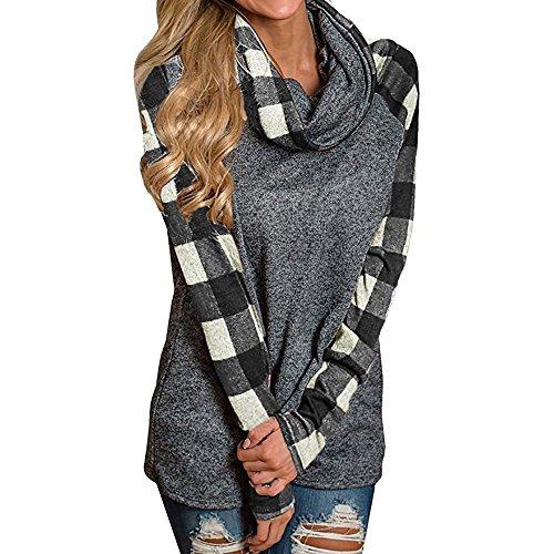 UJUNAOR Frauen Plaid Langarm Sweater Top mit Schalkragen Casual Pullover Kapuzenpullover(Schwarz,CN M)