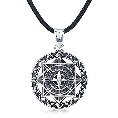Kompass Halskette für Herren, Sterling Silber Anhänger mit Leder Originales Geschenk für Mann