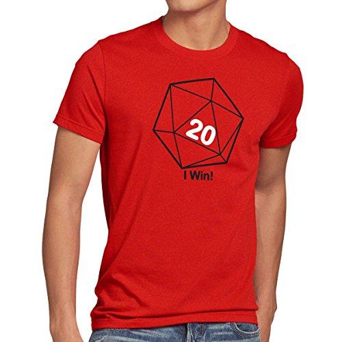 style3 Sheldon W20 Würfel Herren T-Shirt, Größe:XL;Farbe:Rot