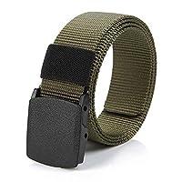 Men's Canvas Belt Outdoor Casual Belt With Nylon Plastic Buckle Mens Woven Pants Belt