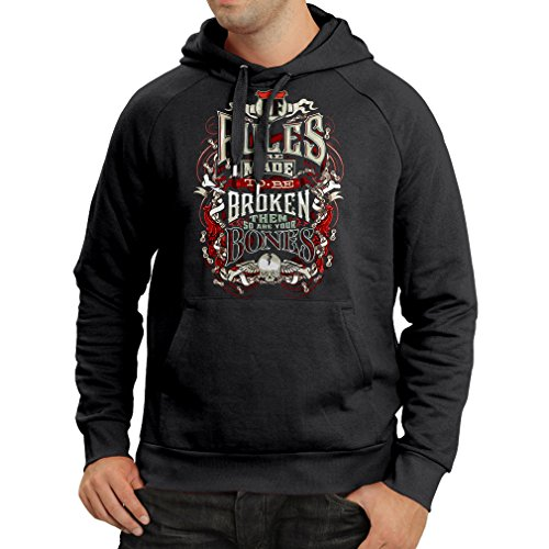 lepni.me Kapuzenpullover wilder Radfahrer, Metall, Rockdesign, Graffitigraphik (XXX-Large Schwarz Mehrfarben) (Weiche Tasse Bella)