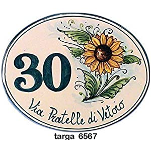 Keramik-und Plaketten oval Hausnummern SEITLICH SONNENBLUME - bestellen Sie hier Ihre Hausnummer (ovale con GIRASOLE LATERALE)