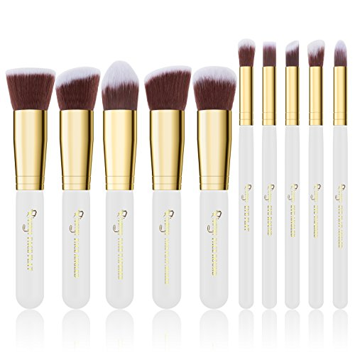 Qivange 10 Stück Kabuki Makeup Pinsel Synthetisch Foundation Rouge Lidschtten Blender Puder Schminkpinsel Set(Weiß mit Gold)