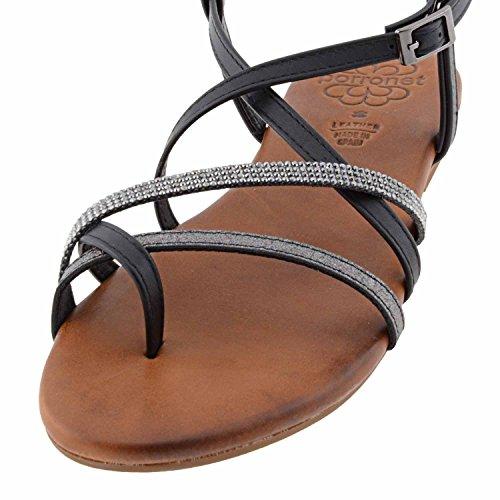Sandales en cuir brillent Porronet Noir