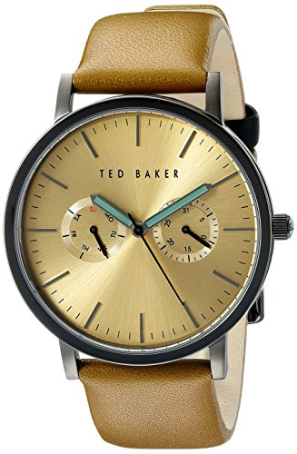 Ted Baker Mens Multi Dial Brown Leather Gold Dial TE1094