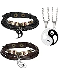 Aroncent 2PCS Pulsera de Cuero Trenzado Brazaletes Enamorados y 2PCS Collares con Colgantes de Yin Yang Tai Chi para Hombre/Mujer/Pareja (Negro, Marrón)