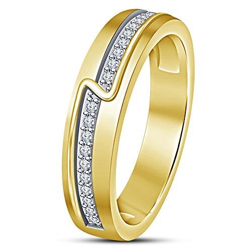 Vorra Fashion - 925 Sterlingsilber Sterling-Silber 925 Rund White zirkonia (Bands White Diamant-hochzeit Gold)