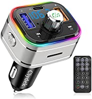 Bluetooth FM Transmitter for Car, Clydek Wireless Bluetooth FM Car Adapter with Type-C PD 3.0 18W, Remote Cont