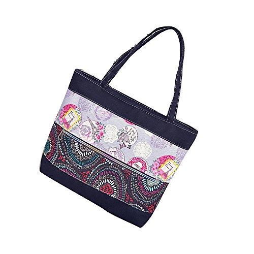 Transer Women Shopping Bag Popular Girls Hand Bags Ladies Canvas Handbag, Borsa a spalla donna Blue 32cm(L)*33(H)*9cm(W) Black
