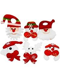 Vococal® 12 Pcs Père Noël/Noël Led Clignotant Insigne de Poitrine/Broche/Pin