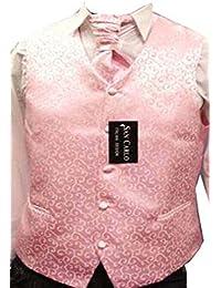 Paisley rose mariage gilet de jeu des hommes(ref:pink paisley waistcoat)