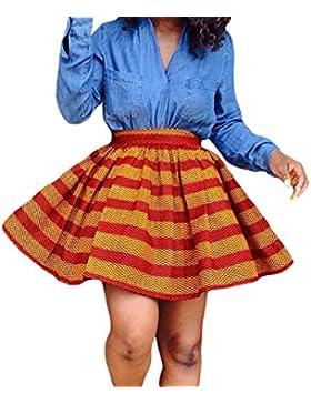 NICE BUY Mujer Mini Raya Falda Plisada Elastico de Cintura Alta Retro Plisado Corto Mini Falda