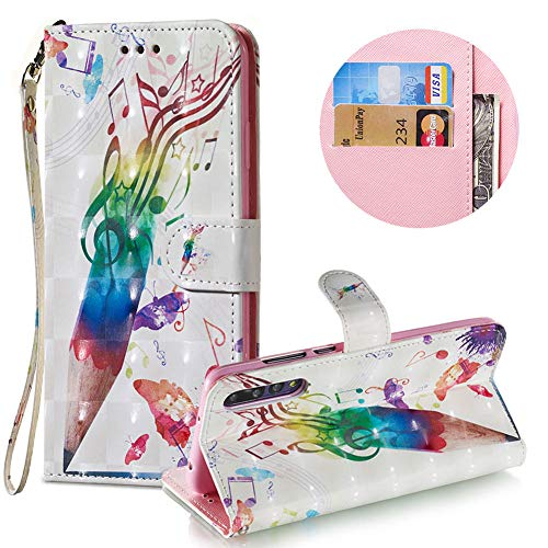 Gurt Brieftasche für Huawei P20 Pro,Wallet Leder Handyhülle für Huawei P20 Pro,Moiky Stilvoll 3D Musik Stift Muster Geprägt Klappbar Stand Handytasche